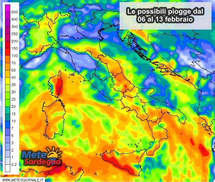 Le precipitazioni settimanali, dal 06 al 13 febbraio.