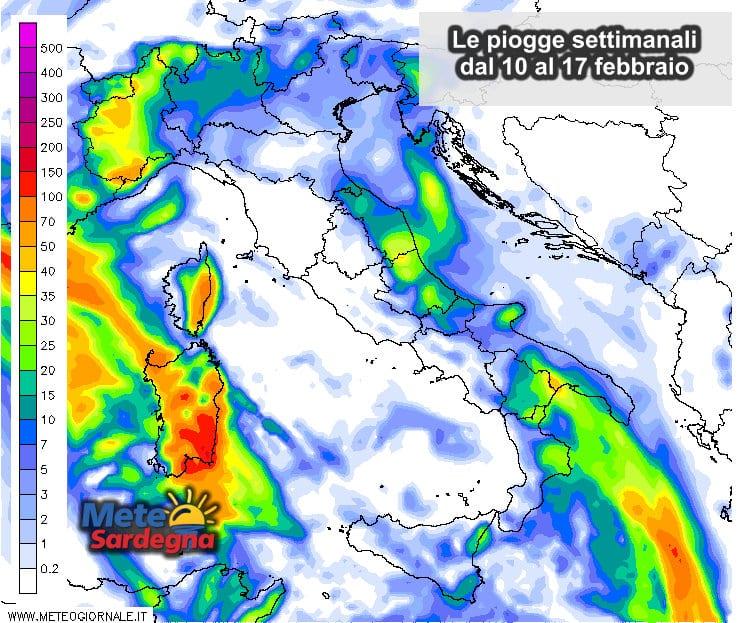 Le possibili piogge dal 10 al 17 febbraio.
