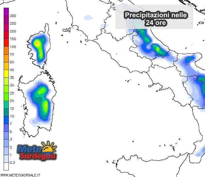 Precipitazioni odierne: rischio temporali pomeridiani.