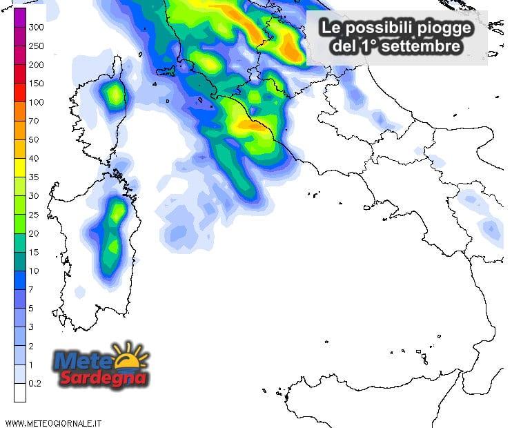 Le possibili piogge del 1° settembre.