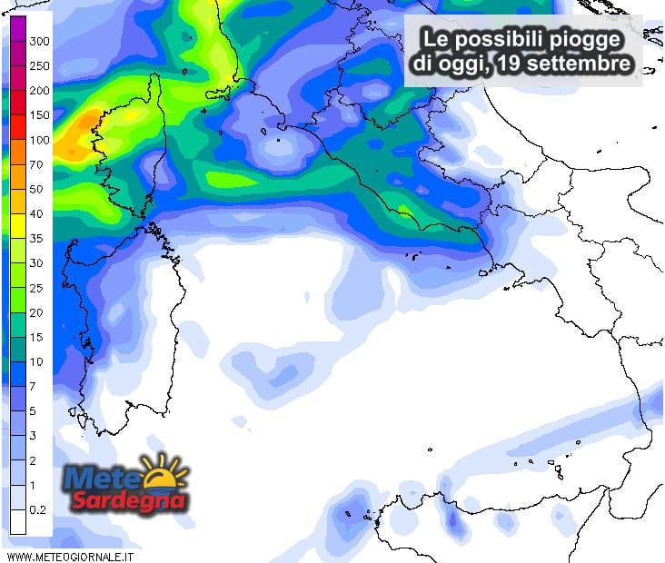 Le possibili piogge di oggi, lunedì 18 settembre.