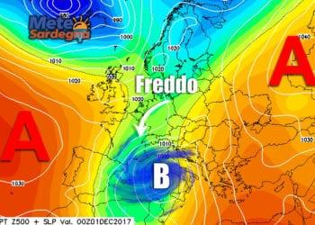 Proiezioni di forte maltempo, con freddo invernale, per inizio dicembre.