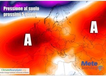 La mappa ci mostra una previsione della pressione al suolo per i prossimi 5-7 giorni.