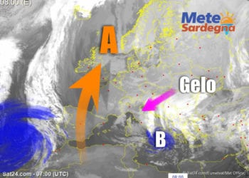 Fonte Sat24, rielaborazione grafica del Meteo Sardegna.
