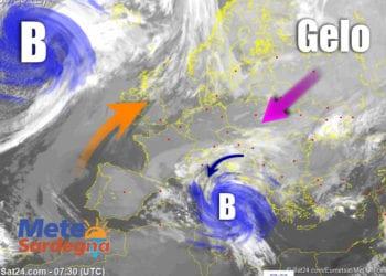 Fonte immagine Sat24, rielaborazione grafica a cura della Redazione di Meteo Sardegna.