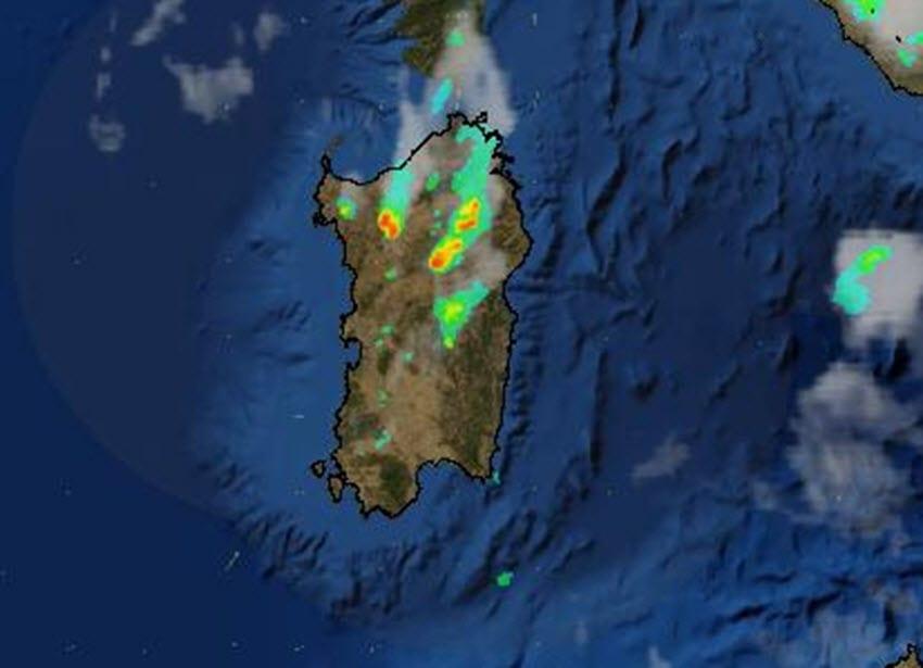 radar meteo sardegna 1 - Temporali con grandine nel Nord Sardegna in estensione nuorese