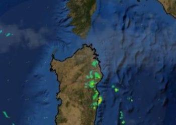 Nella scansione del Radar Nazionale (fonte Protezione Civile), le precipitazioni che stanno coinvolgendo alcune zone della Sardegna orientale.