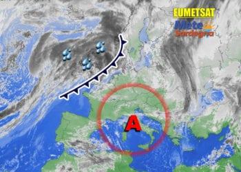 Fonte immagine Eumetsat, rielaborazione a cura della Redazione del Meteo Sardegna.