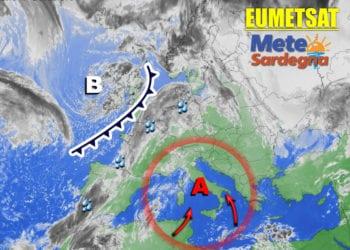 Fonte immagine Eumetsat, rielaborazione grafica a cura della Redazione del Meteo Sardegna.