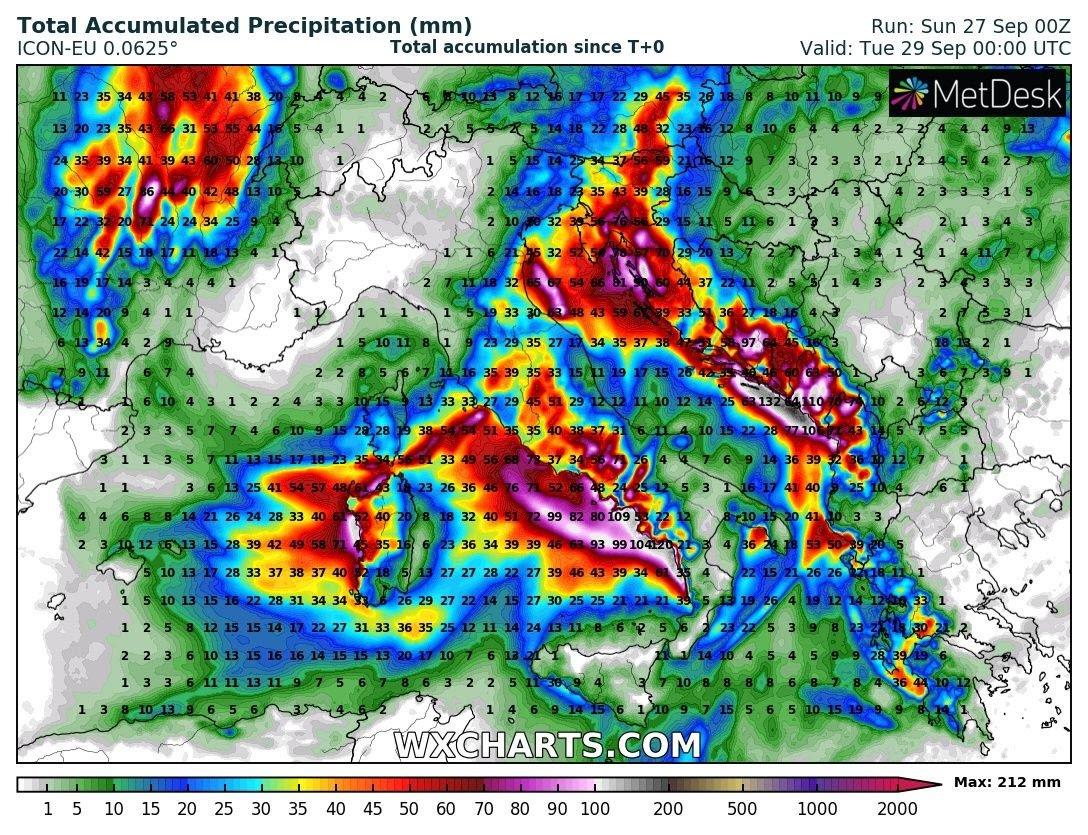 Accumuli complessivi pioggia secondo modello matematico ICON sino a domani.