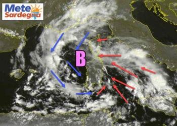 Situazione meteo: area ciclonica sulla Sardegna. Credit immagine EUMETSAT-SAR24.COM
