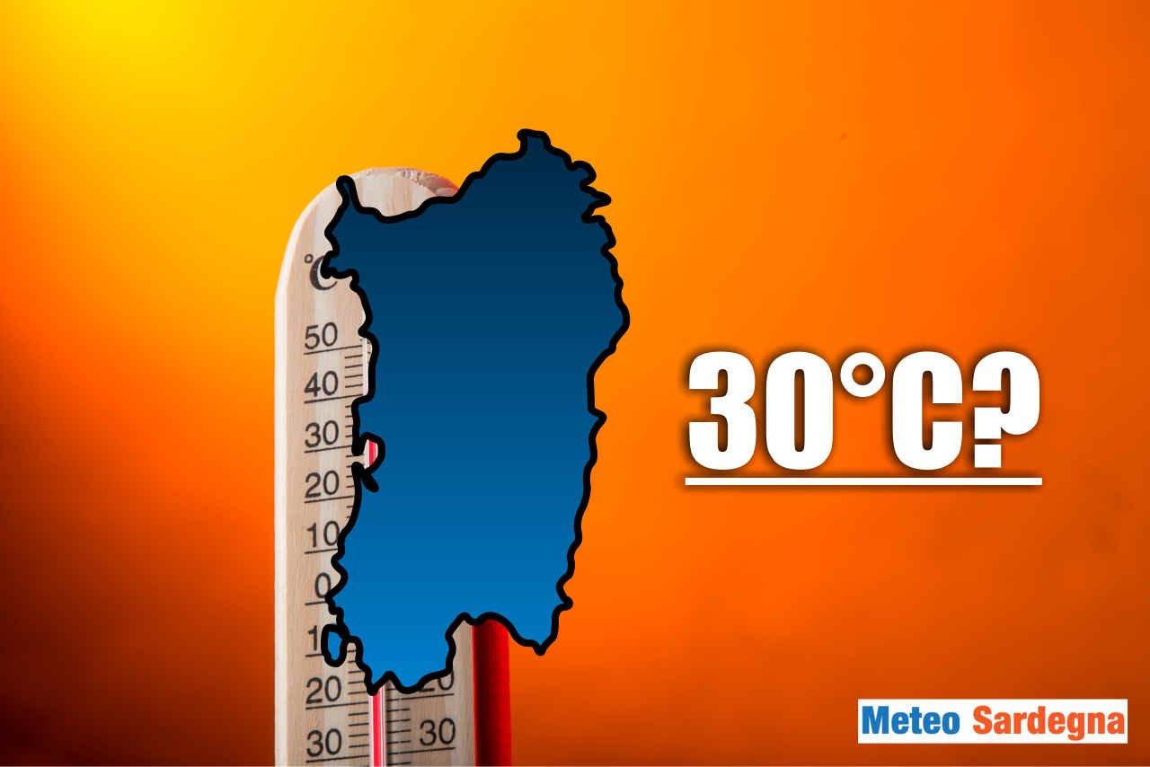 Il rischio di caldo in Sardegna. Picchi di 30°C come valore estremo.