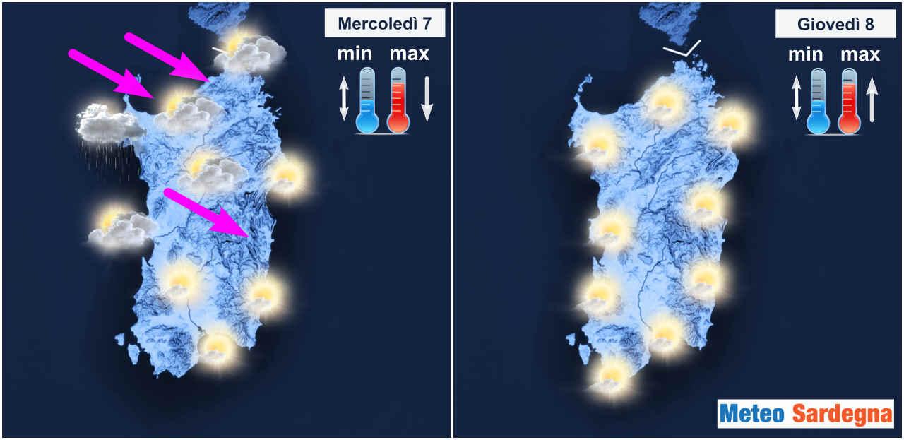 Meteo dei prossimi giorni in Sardegna.