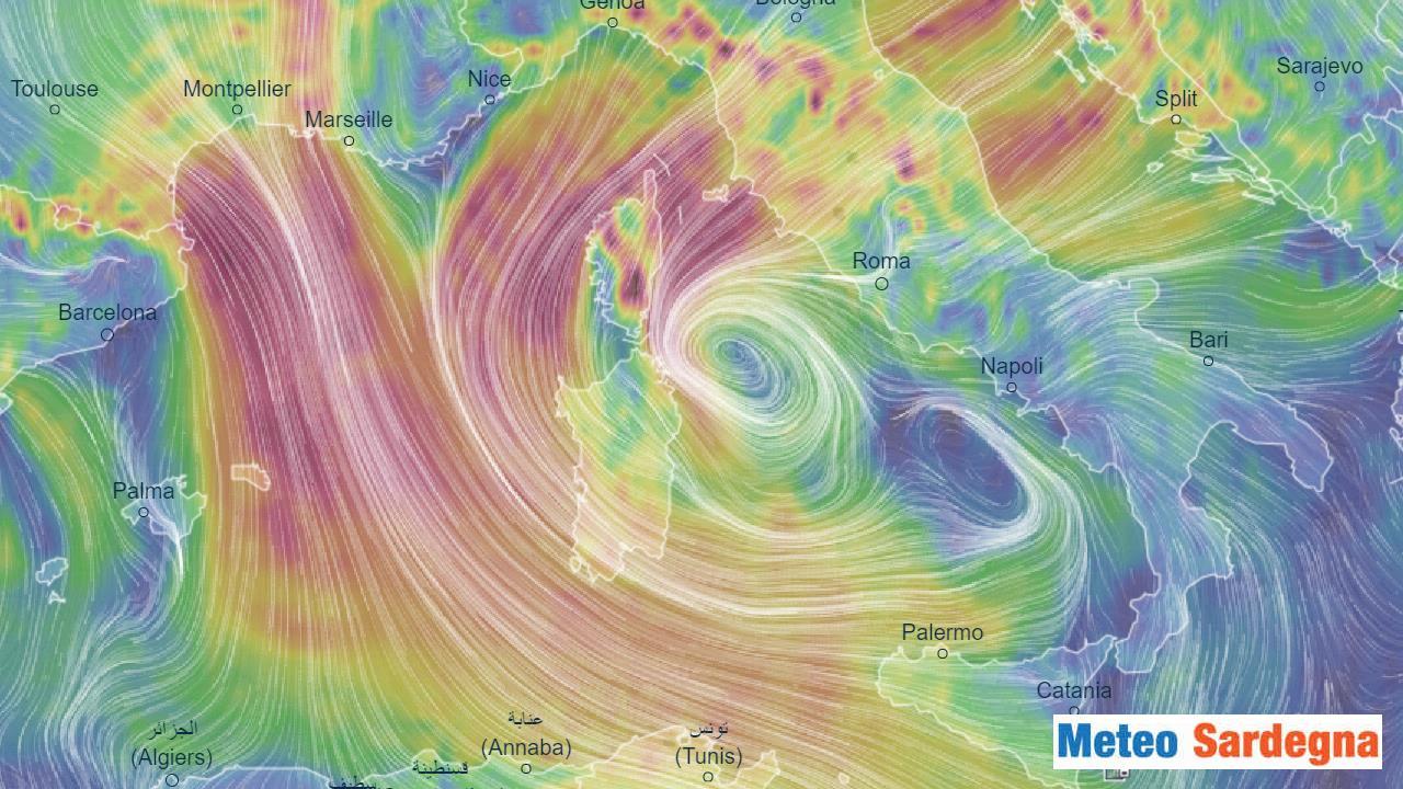 Ciclone verso la Sardegna