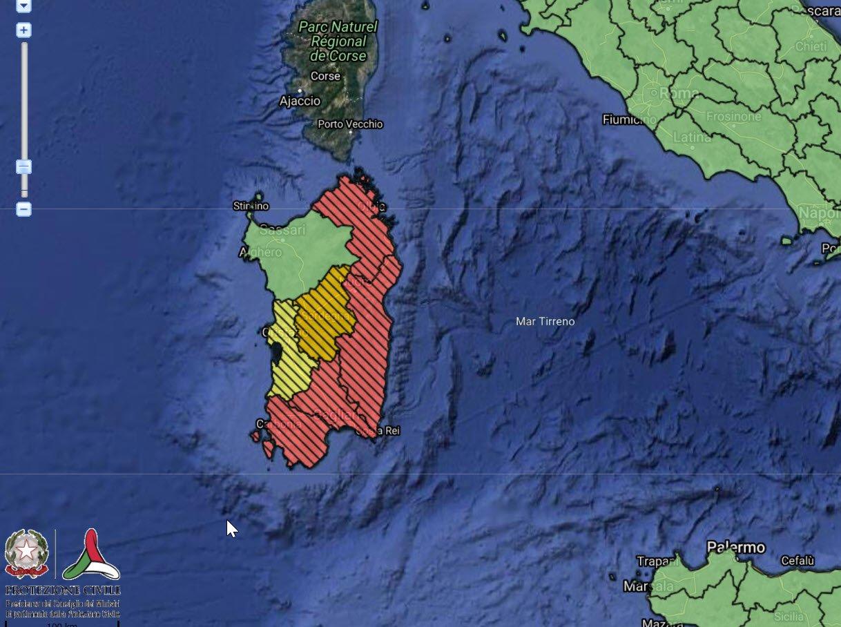 Allerta meteo rossa da protezione civile nazionale.