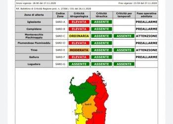 Allerta meteo rossa da protezione civile Sardegna.