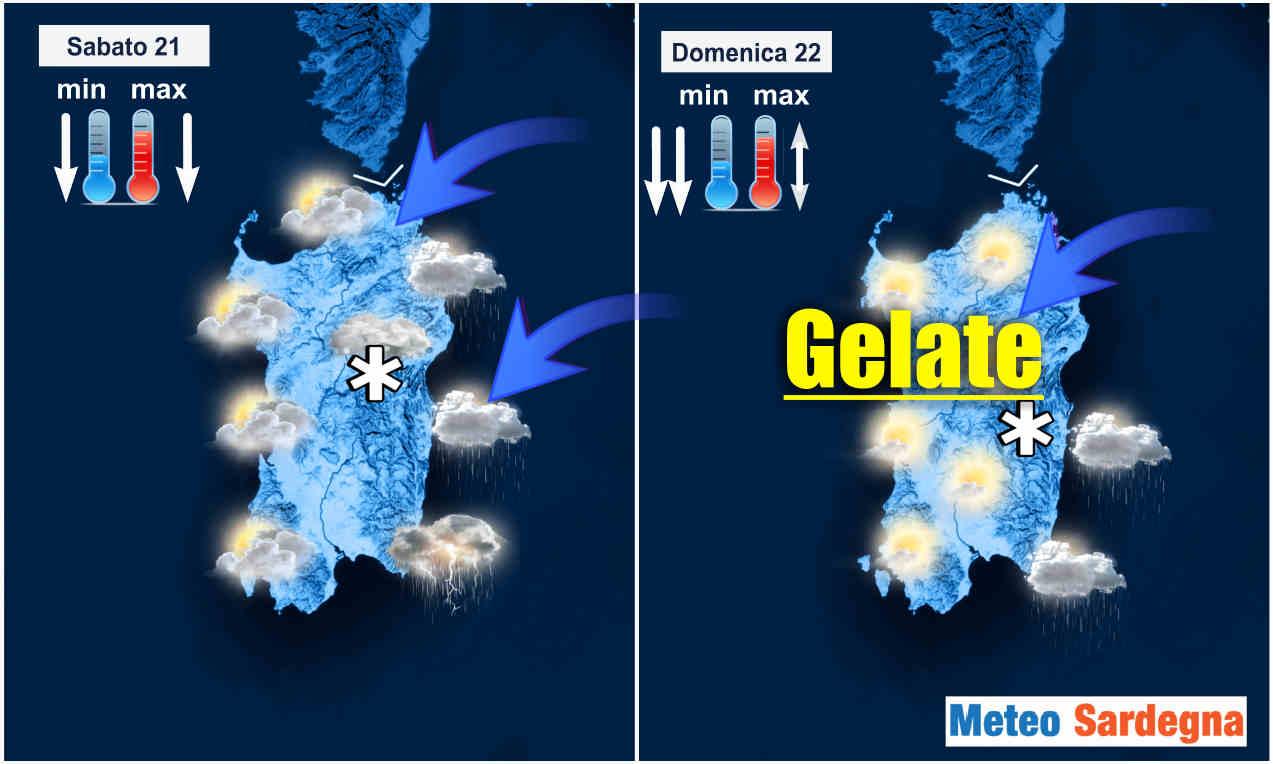 meteo prossimi giorni sardegna con rischio gelate - Sardegna, meteo freddo con GELATE NOTTURNE. Neve su Gennargentu