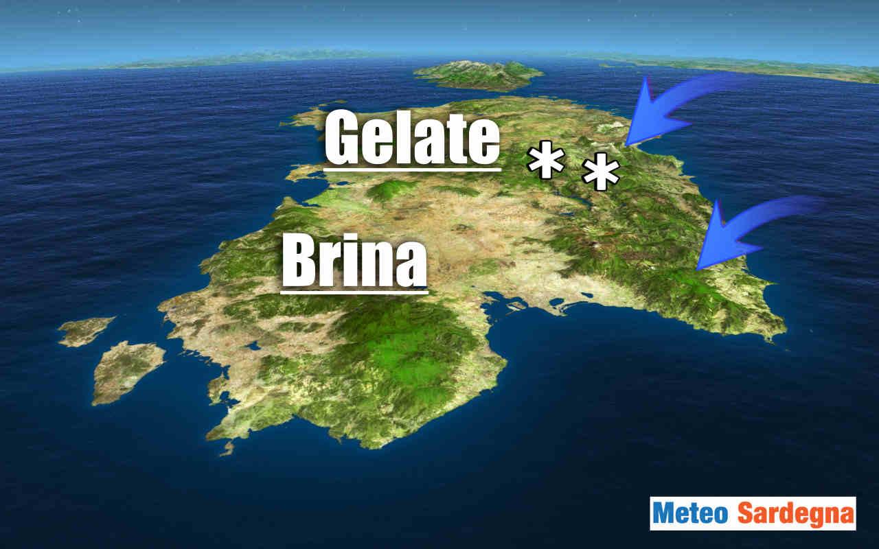 Meteo Sardegna possibili gelate notturne.