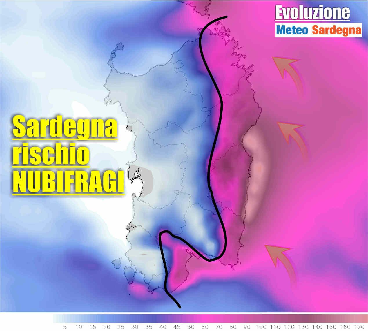 Piogge previste tra venerdì e sabato in Sardegna. Evidente meteo avverso.