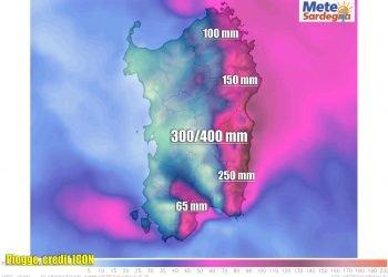 Precipitazioni previste modello meteo matematico ICON.