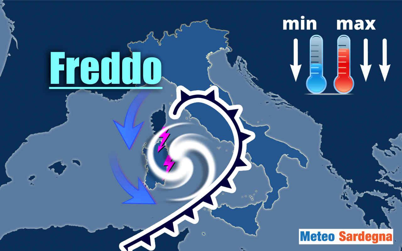 Sardegna area ciclonica con forte maltempo.