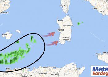 Radar meteo che indica la rotta delle deboli piogge.