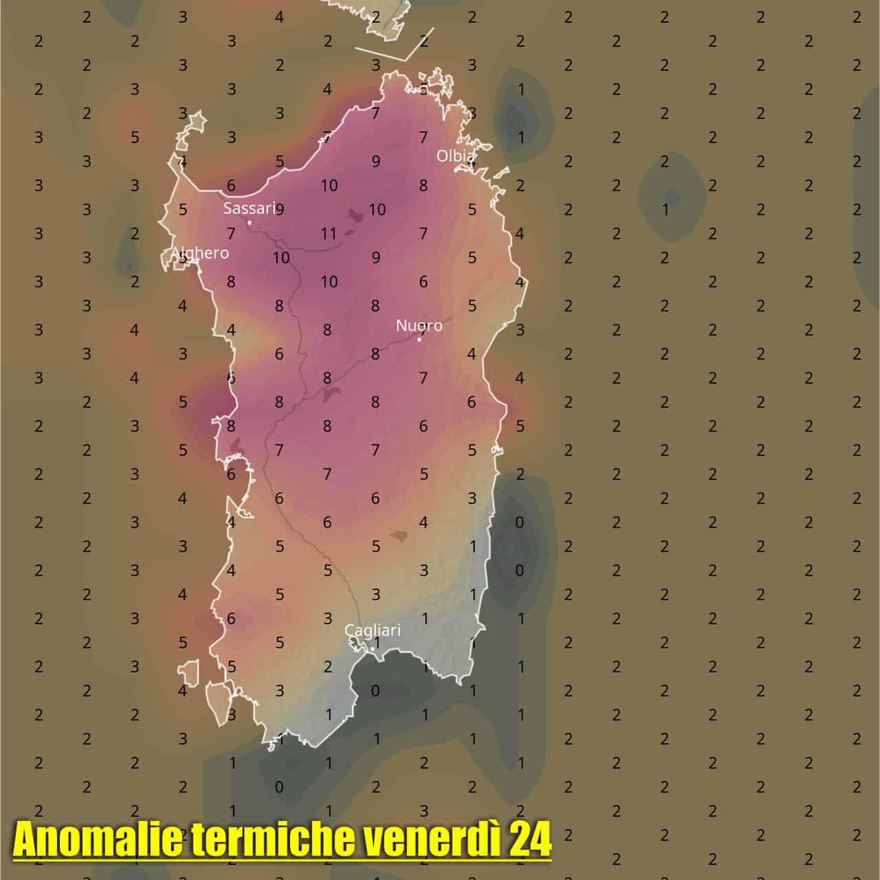anomalia temperatura sardegna 24 settembre - SARDEGNA, meteo TROPICALE, molto CALDO con rischio TEMPORALI