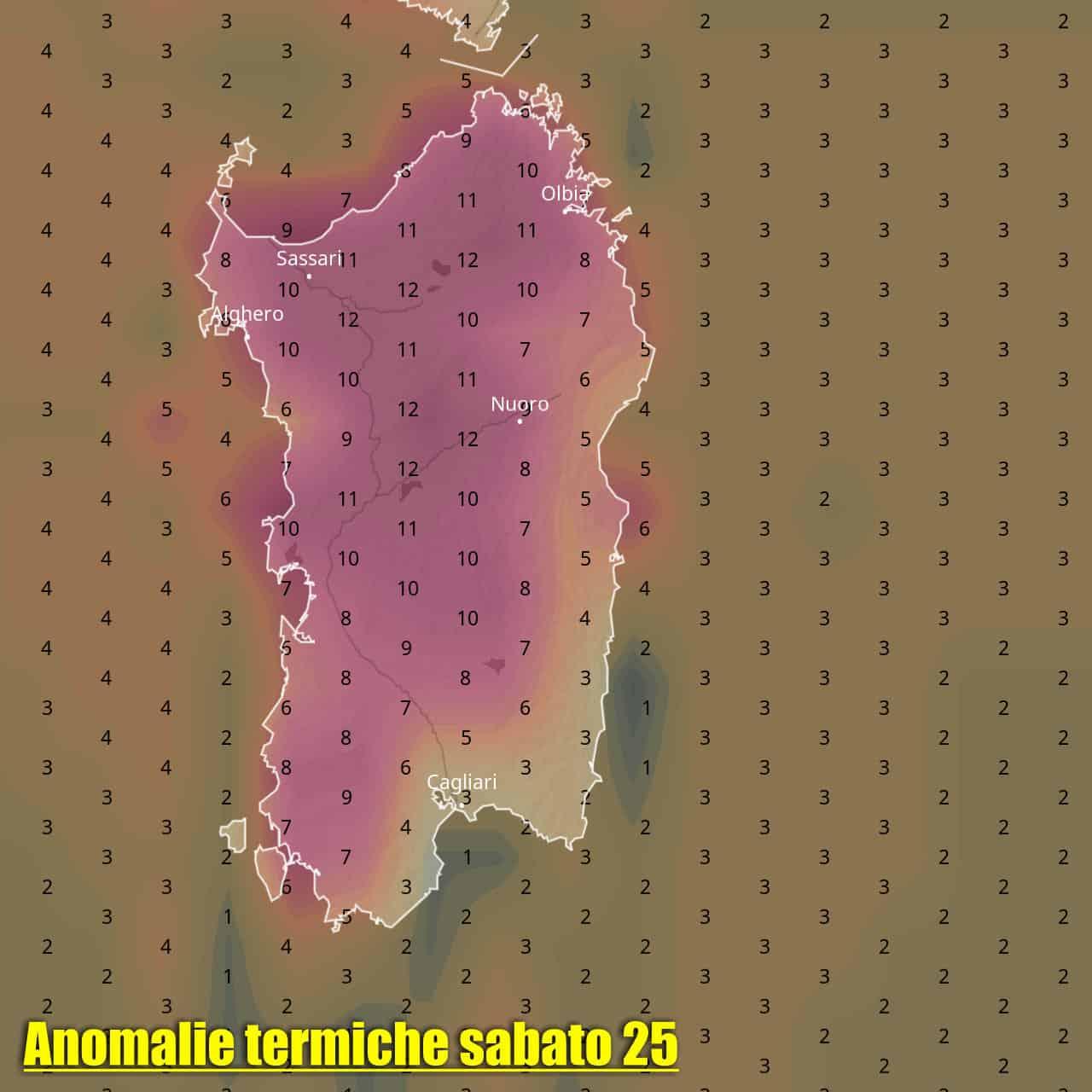 anomalia temperatura sardegna 25 settembre - SARDEGNA, meteo TROPICALE, molto CALDO con rischio TEMPORALI