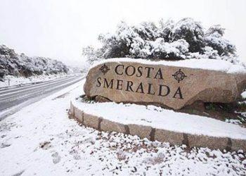 Neve in Costa Smeralda, febbraio 2018.